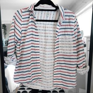 Madewell | red white & blue striped button up